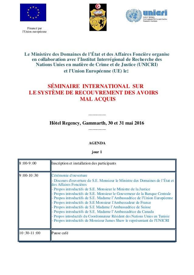 Financé par l'Union européenne Le Ministère des Domaines de l'État et des Affaires Foncière organise en collaboration avec...