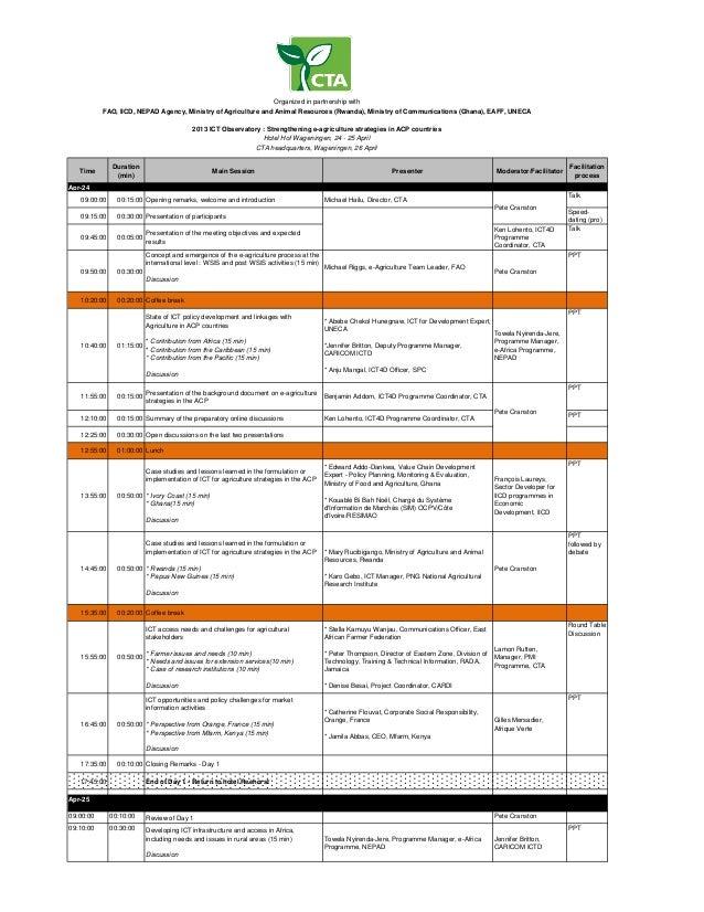 TimeDuration(min)Main Session Presenter Moderator/FacilitatorFacilitationprocessApr-2409:00:00 00:15:00 Opening remarks, w...