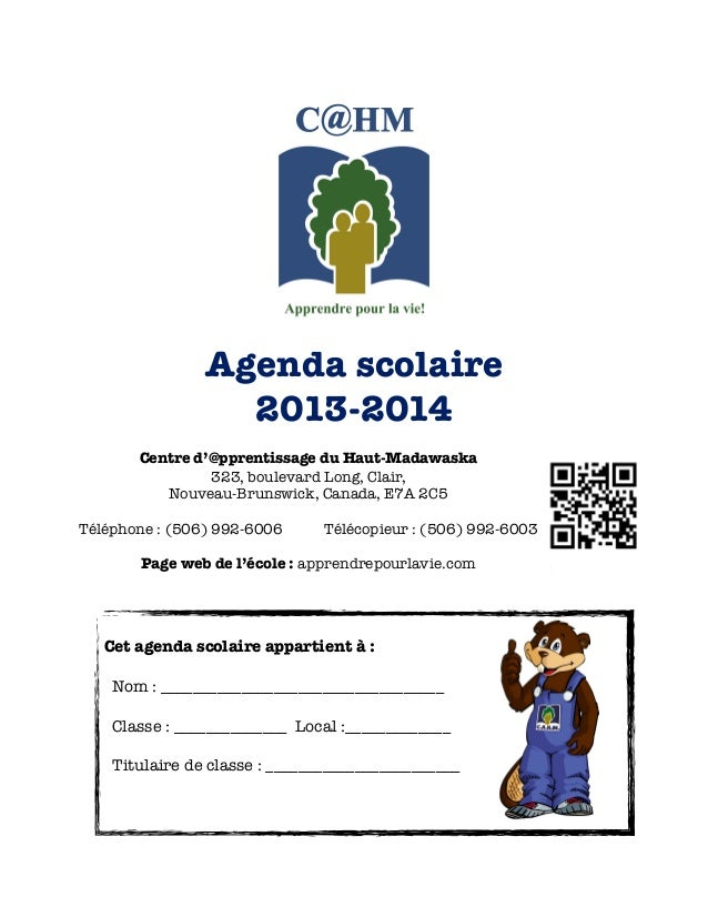 Agenda scolaire 2013-14  du CAHM