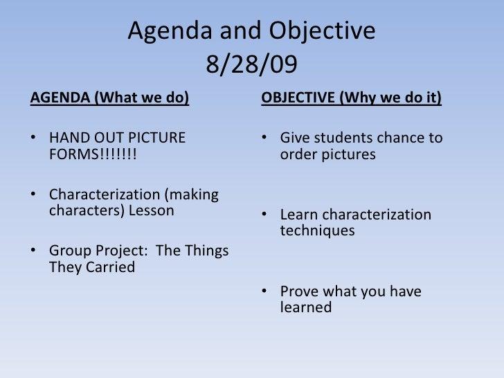 Agenda For 8.28.09