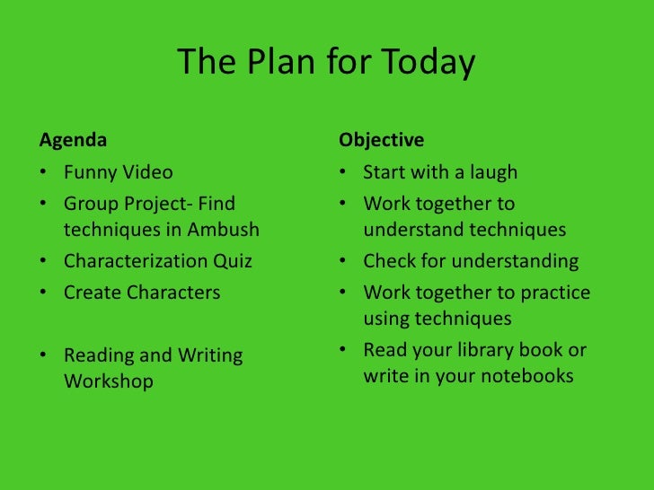 The Plan for Today<br />Agenda<br />Funny Video<br />Group Project- Find techniques in Ambush<br />Characterization Quiz<b...