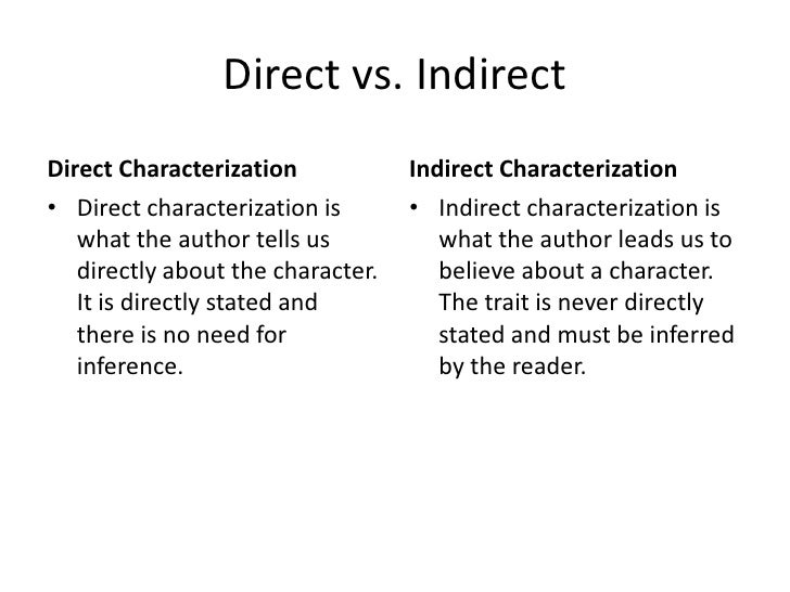 indirect characterization essays Indirect characterization essays and research papers indirect characterization indirect tax indirect taxes include value added tax, a range of excise duties on oil, tobacco and alcohol and fuel duty vat is levied.