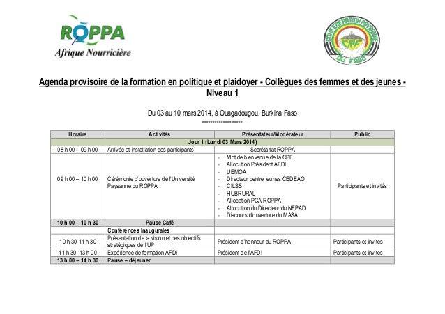 Agenda provisoire de la formation en politique et plaidoyer - Collègues des femmes et des jeunes Niveau 1 Du 03 au 10 mars...