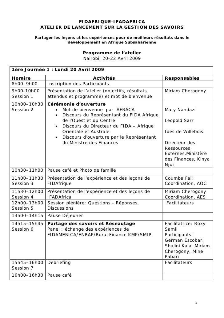 FIDAFRIQUE-IFADAFRICA              ATELIER DE LANCEMENT SUR LA GESTION DES SAVOIRS           Partager les leçons et les ex...