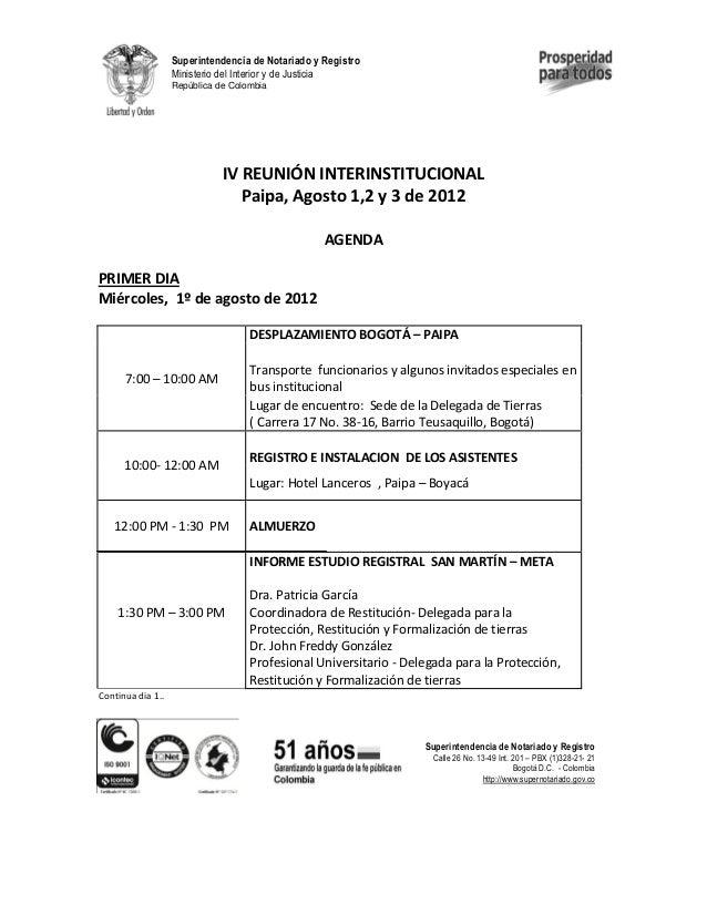 Superintendencia de Notariado y Registro Ministerio del Interior y de Justicia República de Colombia  IV REUNIÓN INTERINST...