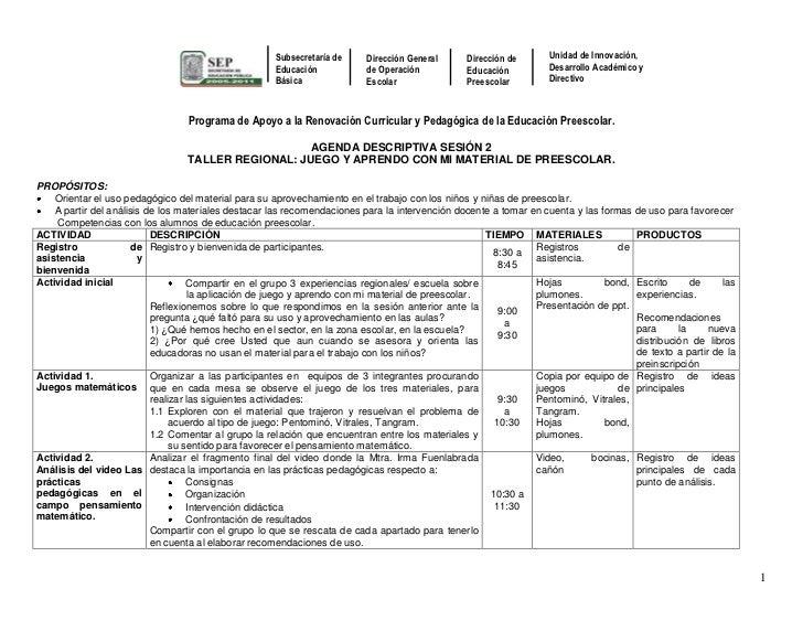 Programa de Apoyo a la Renovación Curricular y Pedagógica de la Educación Preescolar.<br />AGENDA DESCRIPTIVA SESIÓN 2 <br...
