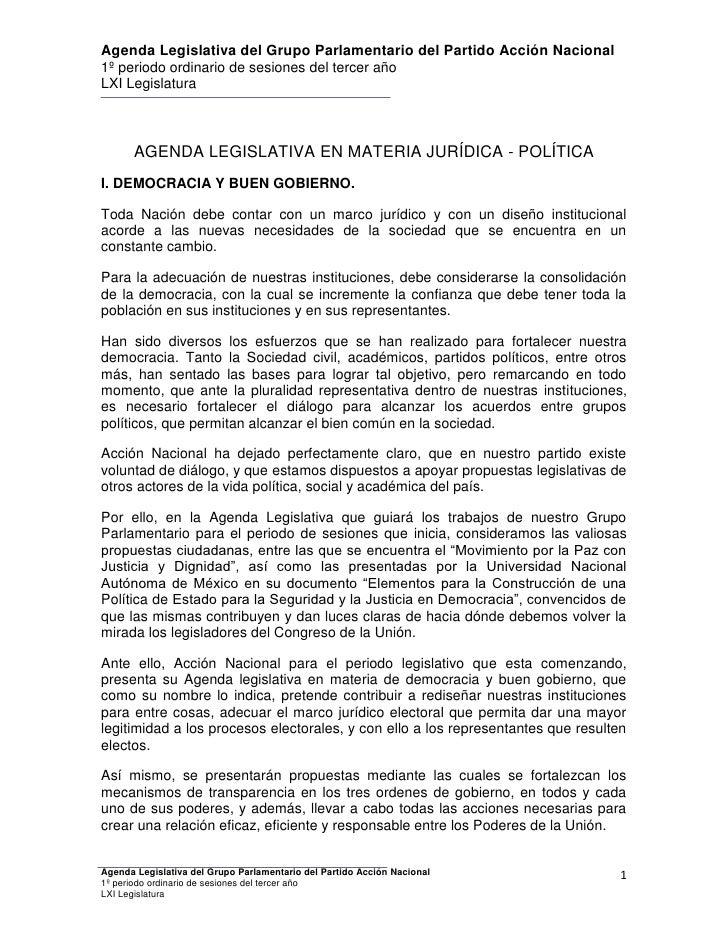Agenda Legislativa del Grupo Parlamentario del Partido Acción Nacional1º periodo ordinario de sesiones del tercer añoLXI L...