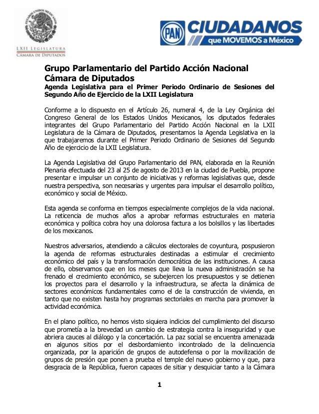1 Grupo Parlamentario del Partido Acción Nacional Cámara de Diputados Agenda Legislativa para el Primer Periodo Ordinario ...