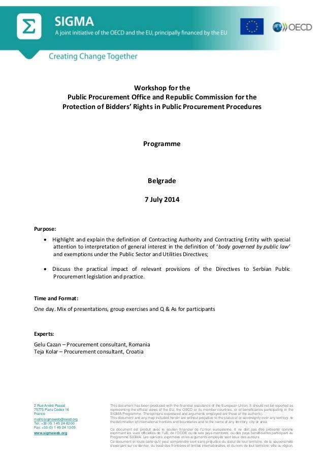 Programme, SIGMA Workshop on the 'Protection of Bidders' Rights in Public Procurement Procedures', Belgrade, 7 July 2014