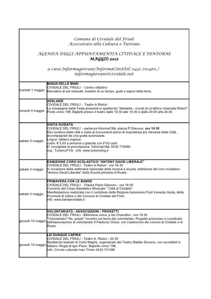 Cividale e dintorni / Agenda appuntamenti Maggio 2012.