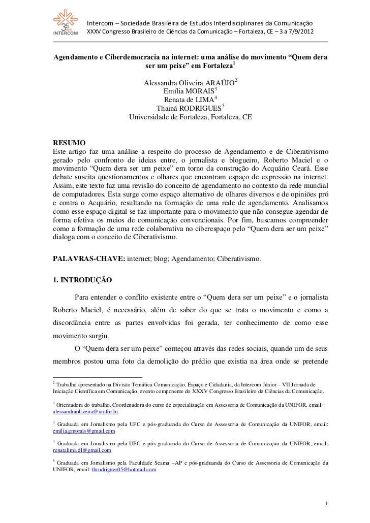 Agendamento e ciberdemocracia na internet   intercom 2012-1