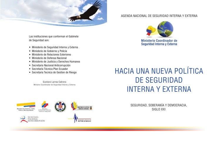 AGENDA NACIONAL DE SEGURIDAD INTERNA Y EXTERNAHACIA UNA NUEVA POLÍTICA      DE SEGURIDAD   INTERNA Y EXTERNA      SEGURIDA...