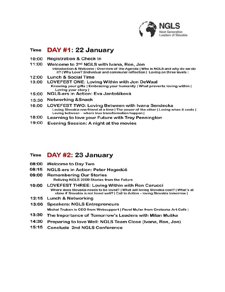 10:00 Registration & Check In11:00 Welcome to 2nd NGLS with Ivana, Ron, JonDAY #1: 22 JanuaryIntroduction & Welcome   Ov...