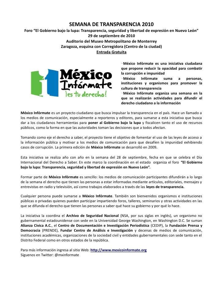 """SEMANA DE TRANSPARENCIA 2010   Foro """"El Gobierno bajo la lupa: Transparencia, seguridad y libertad de expresión en Nuevo L..."""