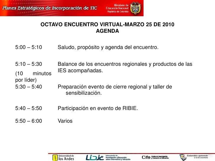 Agenda Octavo  Encuentro Virtual