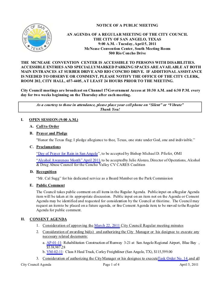 City Council April 5, 2011 Agenda Packet