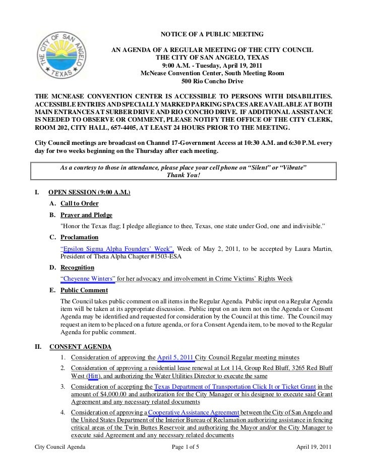 City Council April 19, 2011: Agenda packet