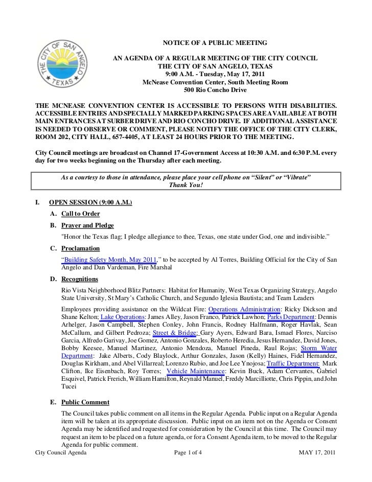 City Council May 17, 2011 Agenda Packet