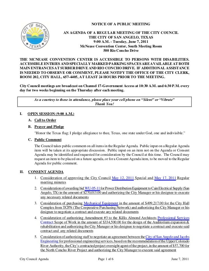 City Council June 7, 2011 Agenda Packet