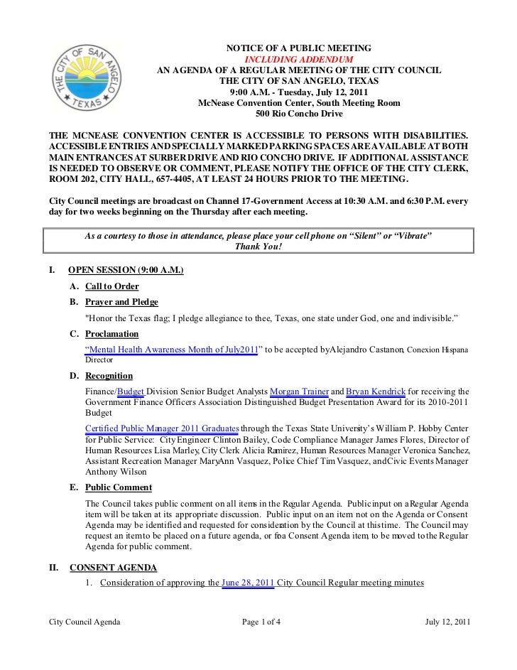 NOTICE OF A PUBLIC MEETING                                            INCLUDING ADDENDUM                            AN AGE...