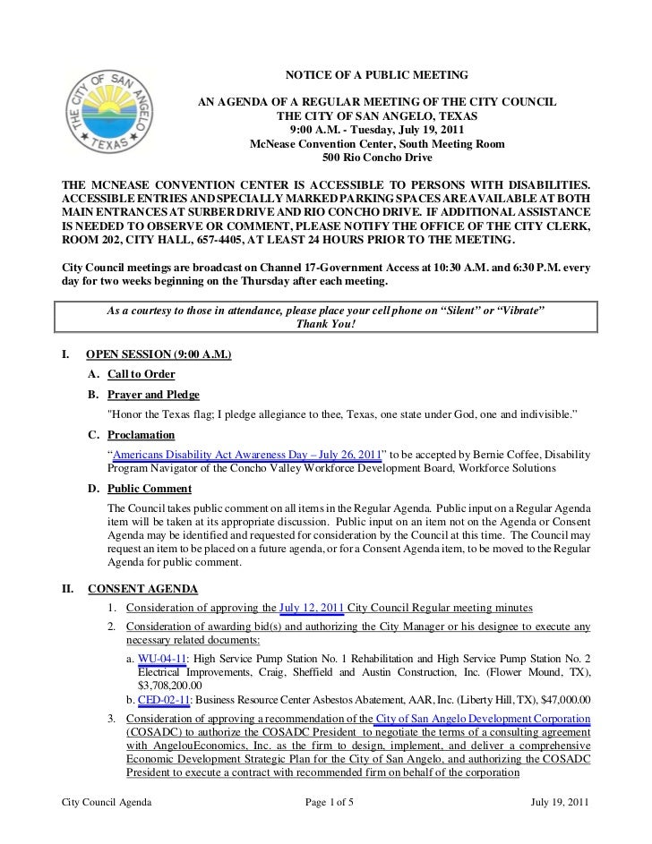 City Council July 19, 2011 Agenda Packet