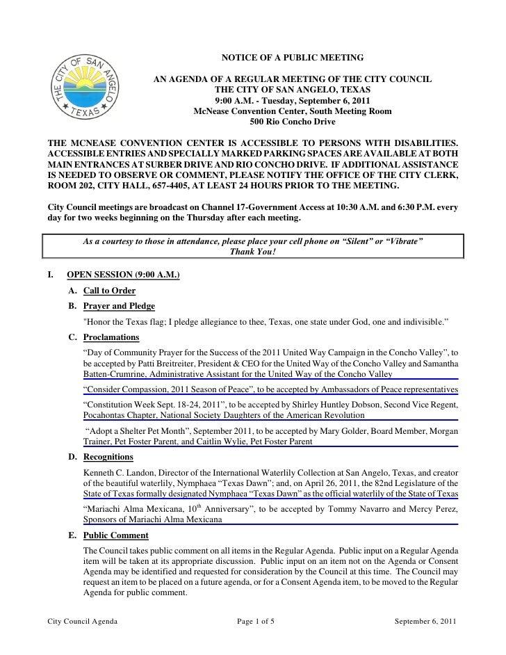 City Council September 6, 2011 Agenda Packet