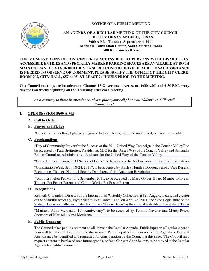 City Council September 6, 2011 Agenda Packet