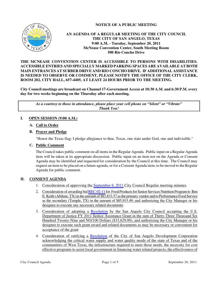 City Council September 20, 2011 Agenda Packet