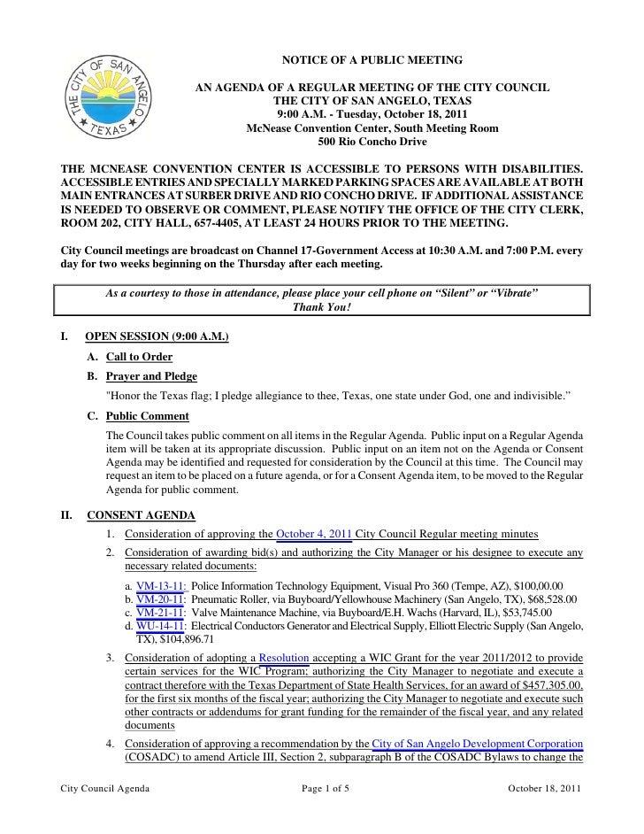 City Council October 18, 2011 Agenda Packet