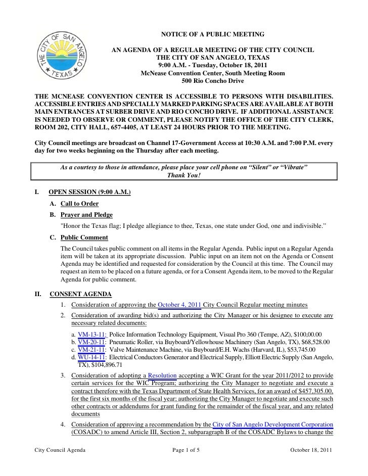 City Council October 18, 2011 Agenda Packet