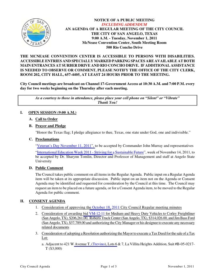 City Council November 1, 2011 Agenda Packet