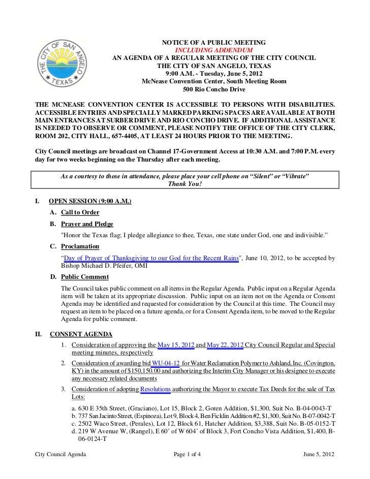 June 5, 2012 Agenda packet
