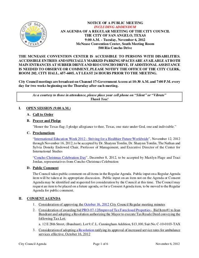 November 6, 2012 Agenda Packet