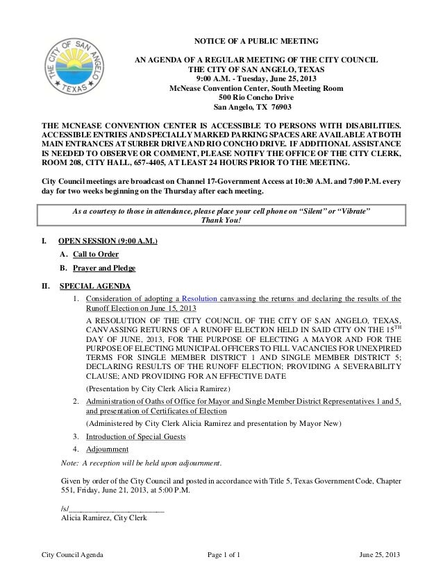City Council Agenda Page 1 of 1 June 25, 2013NOTICE OF A PUBLIC MEETINGAN AGENDA OF A REGULAR MEETING OF THE CITY COUNCILT...