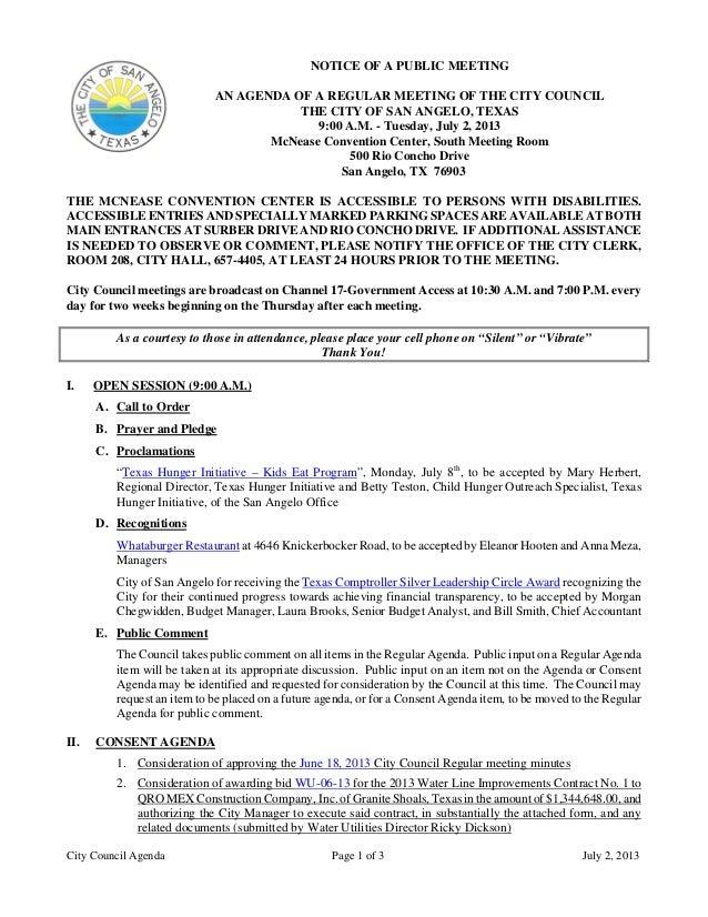 July 2, 2013 Agenda packet