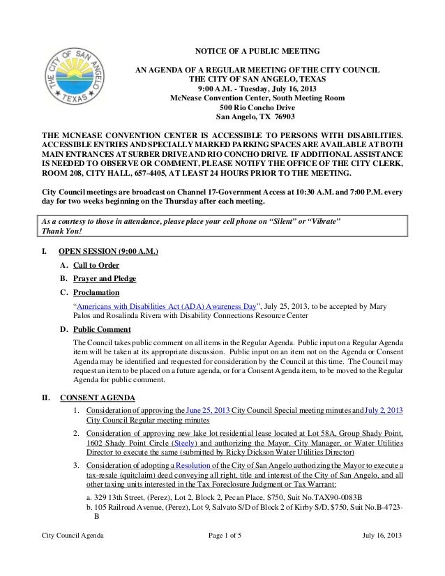 City Council Agenda Page 1 of 5 July 16, 2013 NOTICE OF A PUBLIC MEETING AN AGENDA OF A REGULAR MEETING OF THE CITY COUNCI...