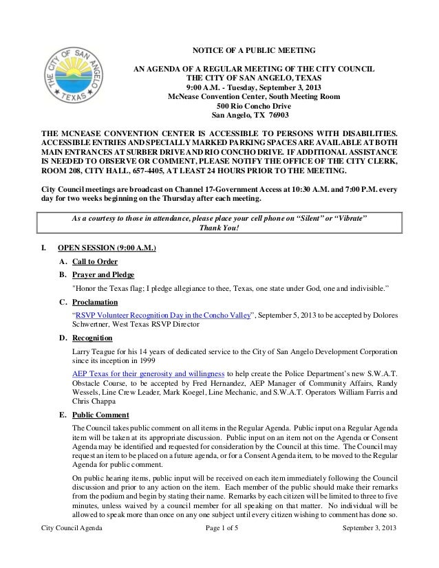 City Council Agenda Page 1 of 5 September 3, 2013 NOTICE OF A PUBLIC MEETING AN AGENDA OF A REGULAR MEETING OF THE CITY CO...