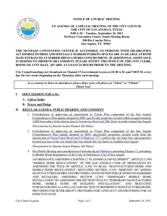 City Council Agenda Page 1 of 2 September 24, 2013 NOTICE OF A PUBLIC MEETING AN AGENDA OF A SPECIAL MEETING OF THE CITY C...