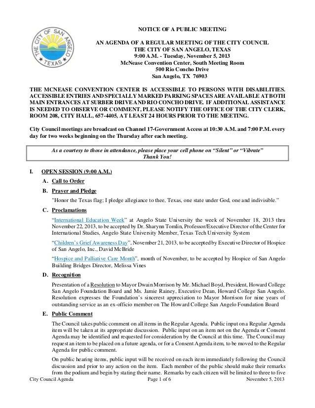 November 5, 2013 Agenda packet