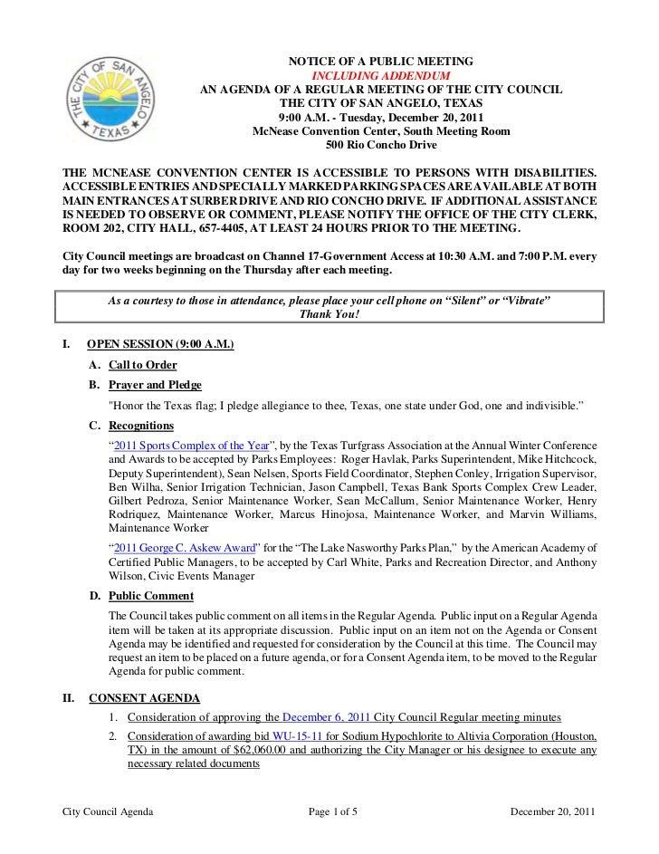 City Council December 20, 2011 Agenda Packet