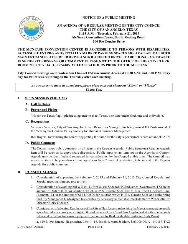 February 21, 2013 Agenda Packet