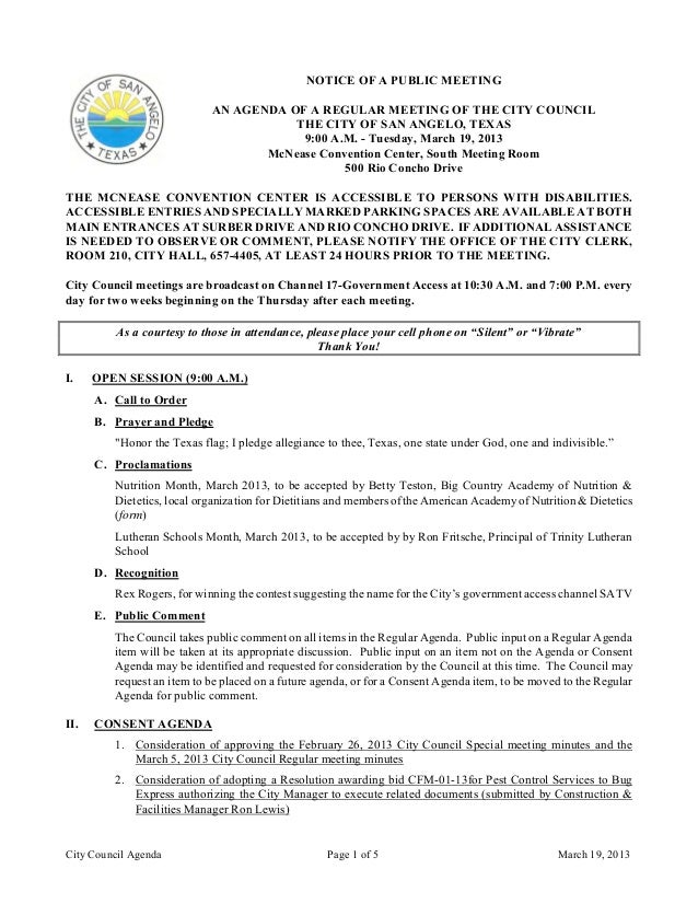 March 19, 2013 Agenda Packet