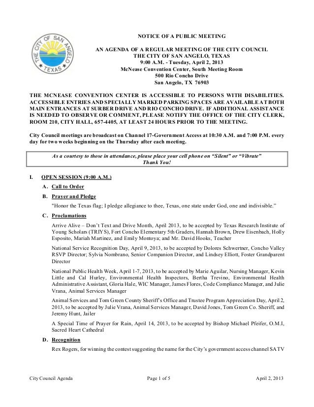 April 2, 2013 City Council Agenda packet