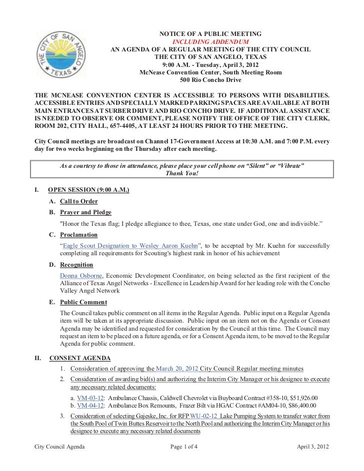 NOTICE OF A PUBLIC MEETING                                             INCLUDING ADDENDUM                             AN A...