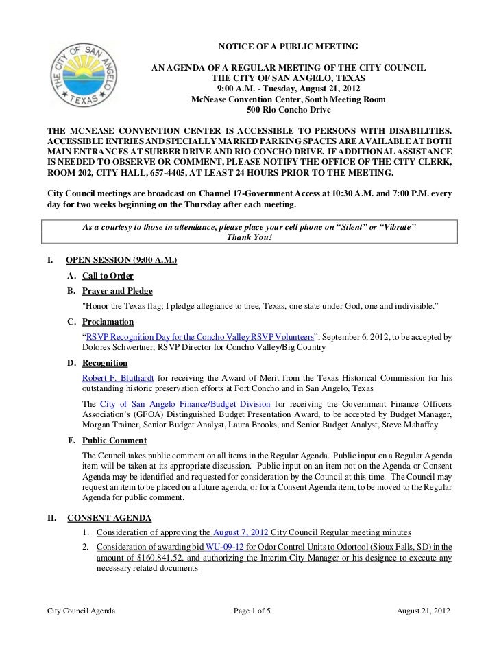 August 21, 2012 City Council Agenda Packet