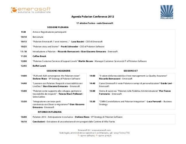 Agenda Polarion Conference 2012