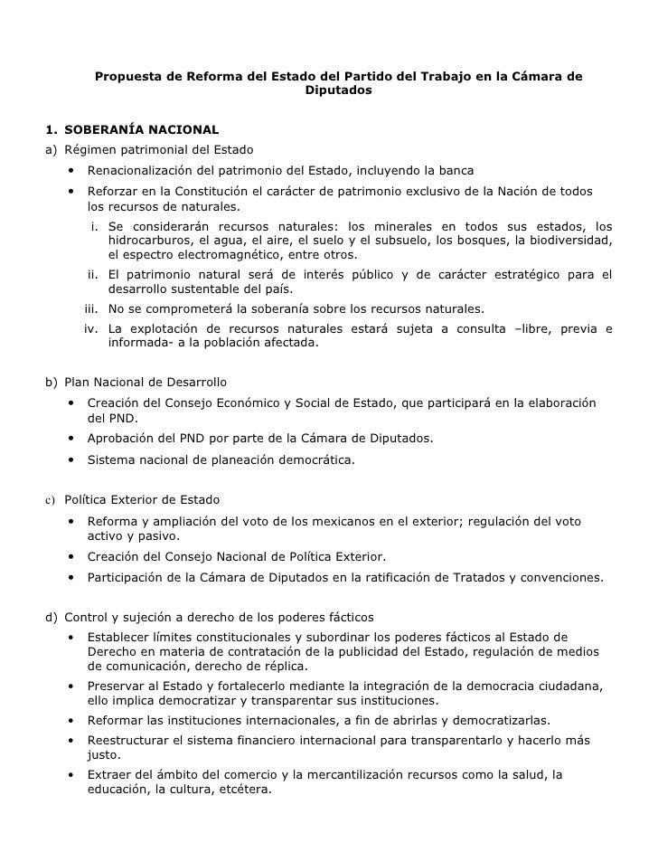 Propuesta de Reforma del Estado del Partido del Trabajo en la Cámara de                                       Diputados   ...