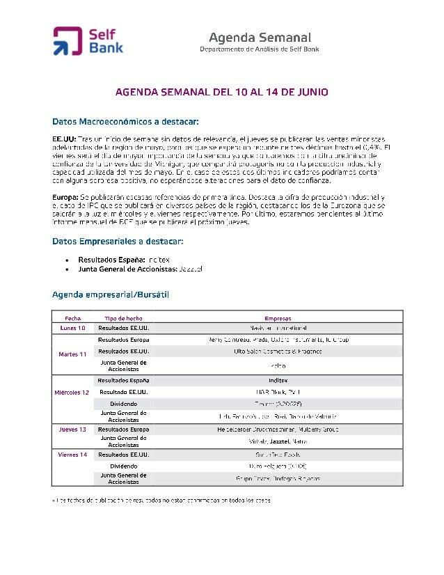 Agenda semanal (del 10 al 14 de junio)