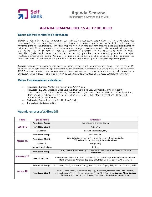Agenda semanal (del 15 al 19 de julio)