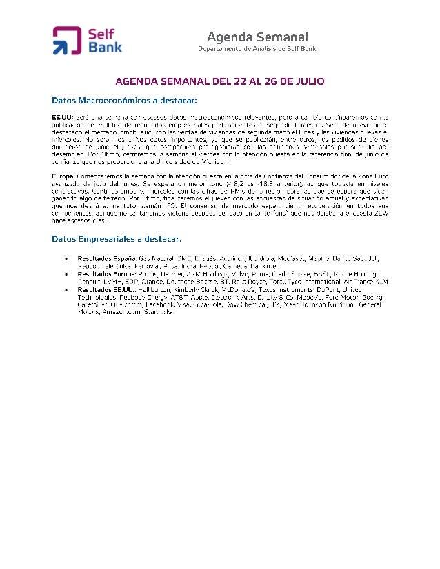 Agenda semanal (del 22 al 26 de julio)
